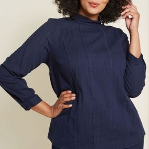 MODCLOTH Twist of Victorian Long Sleeve Blue Top